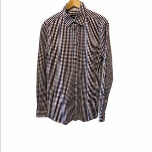 MENS BYTOM Purple Plaid Button Up Collared Shirt